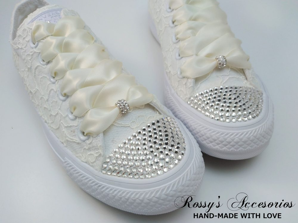 Wedding Clear Crystal Converse/Ivory Lace /Wedding For Bride Pearls Shoes