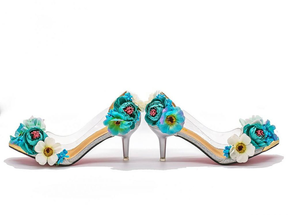 Whimsical Unique Fairytale Blue & Green Silver Floral Bridal Wedding Prom Easter Shoes With Glitter Low Heel Matching Handbag