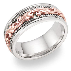 14K White and Rose Gold Paisley Wedding Band