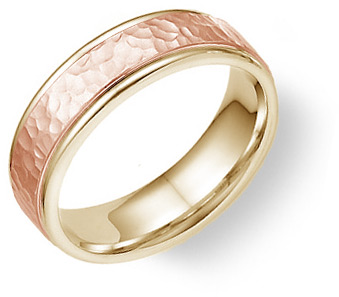 14K Yellow and Rose Gold Hammered Wedding Band Ring