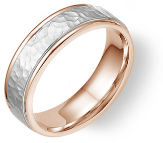14K Rose and White Gold Hammered Wedding Band Ring