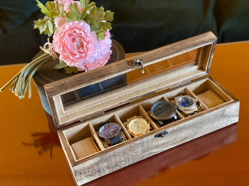 Wooden Watch Box Men Jewelry Flip Top Glass Lid Wedding Decor Dresser Groom Gift Trinket Storage Container Long Shadow Divided Organizer