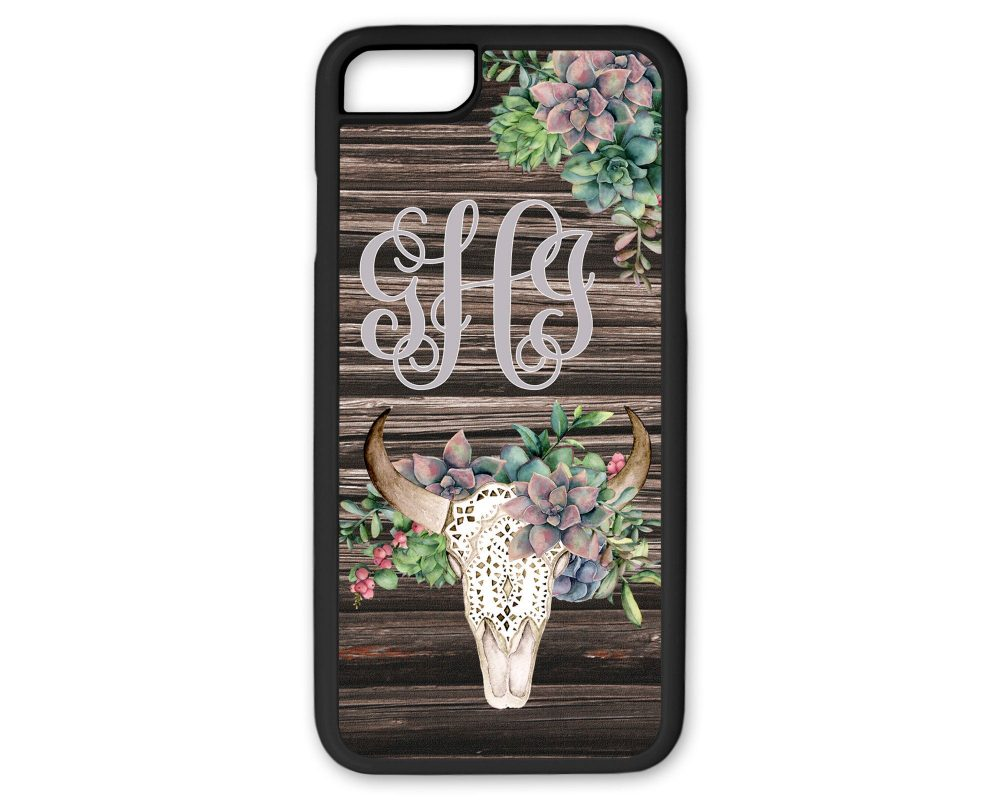 Green Succulent Floral Bull Skull Monogram Phone Case Custom Name Iphone Cow With Flowers 8 Plus Brown