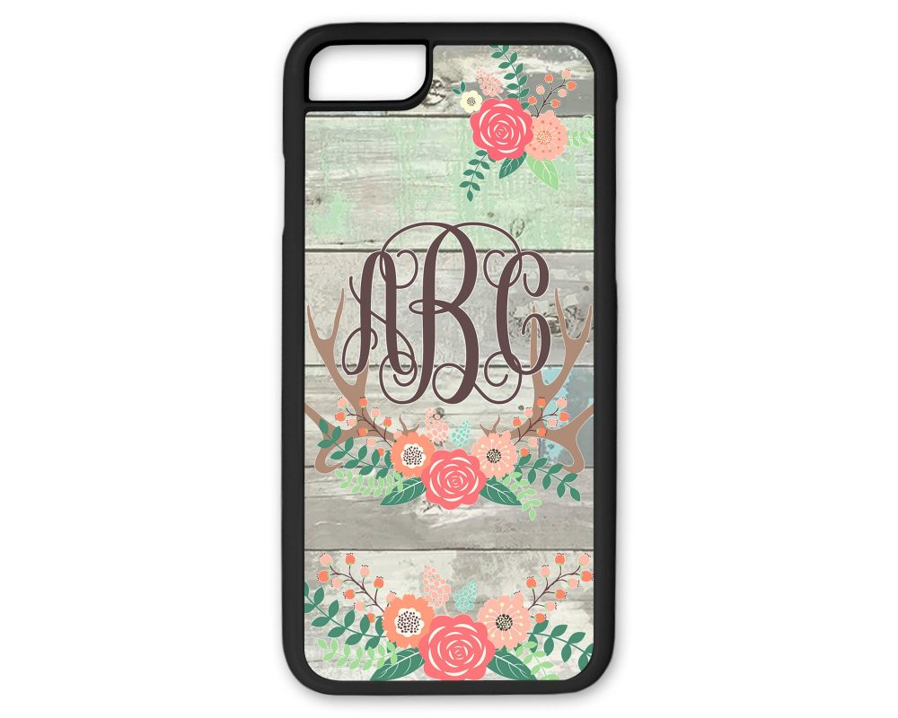 Personalized Monogram Phone Case Boho Floral Antlers Weathered Shiplap Background For Iphone 6 Plus 7 8
