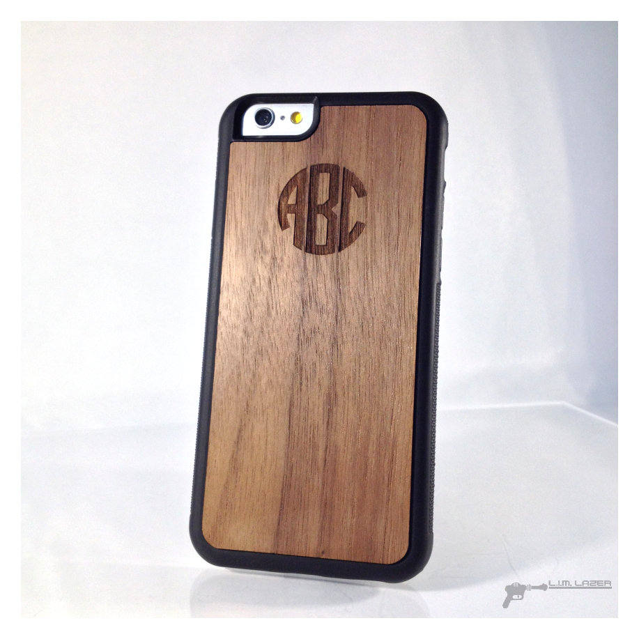 Circle Style Monogram, Real Wood Inset Phone Case For Iphone 7, Iphone 6, 5, Se, Walnut, 5Th Year Anniversary, Anniversary