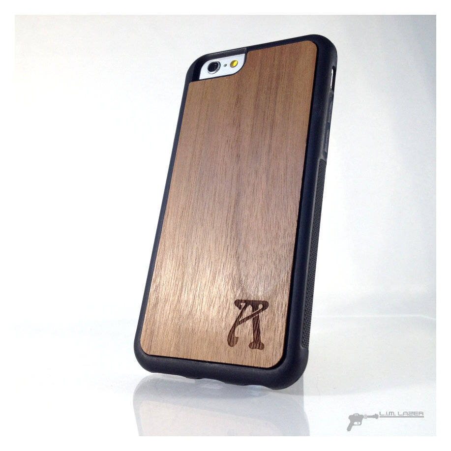 Monogrammed Single Initial Art Nouveau, Real Wood Inset Phone Case For Iphone 7, Iphone 6, 5, Se, Domestic & Exotic