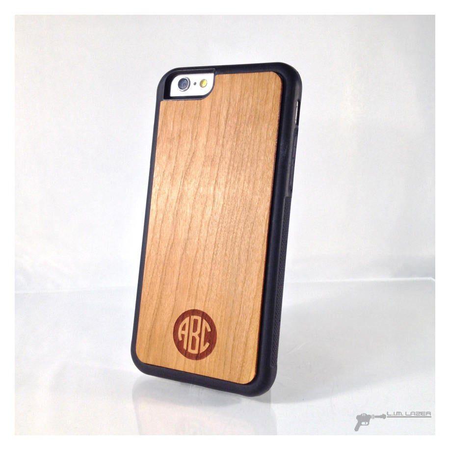 Circle Style Monogram, Real Wood Inset Phone Case For Iphone 7, Iphone 6, 5, Se, Cherry, 5Th Year Anniversary, Anniversary