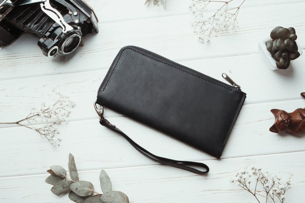 Mens Wallet, Anniversary Gifts, Black Leather Wallet, Travel Wallet, Wallet Phone Case, Zipper Wallet, Iphone Wallet Case, Minimalist Men