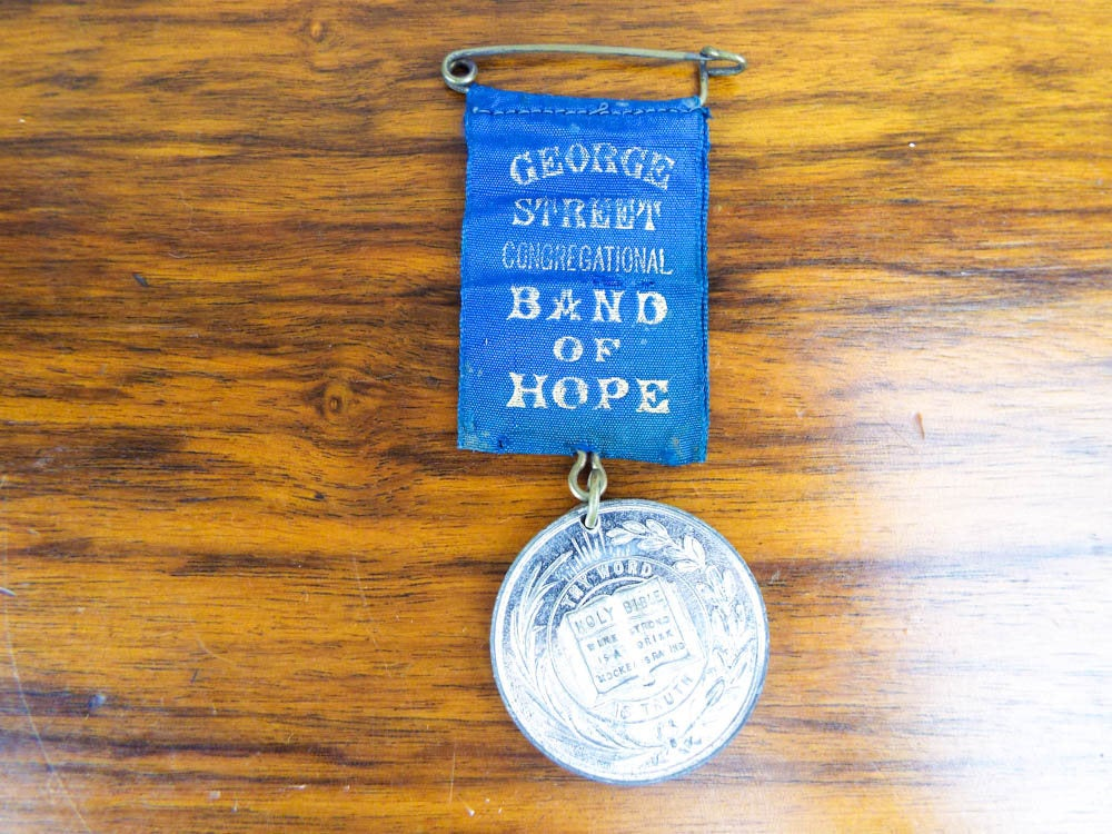 Antique Religious Temperance Band Of Hope George St Coin Medal Medallion Pinback