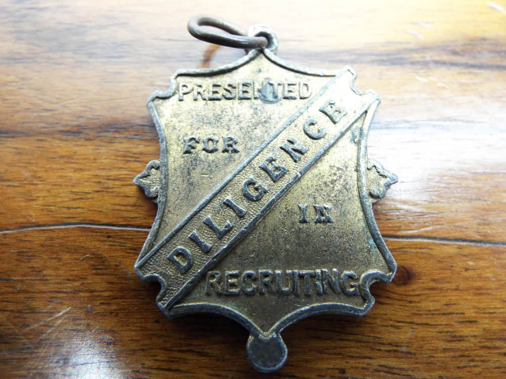 Antique 1910 Religious Band Of Hope Union 1901 Medal Pendant, Christmas Gifts For Christians, Unique Jewelry Necklace