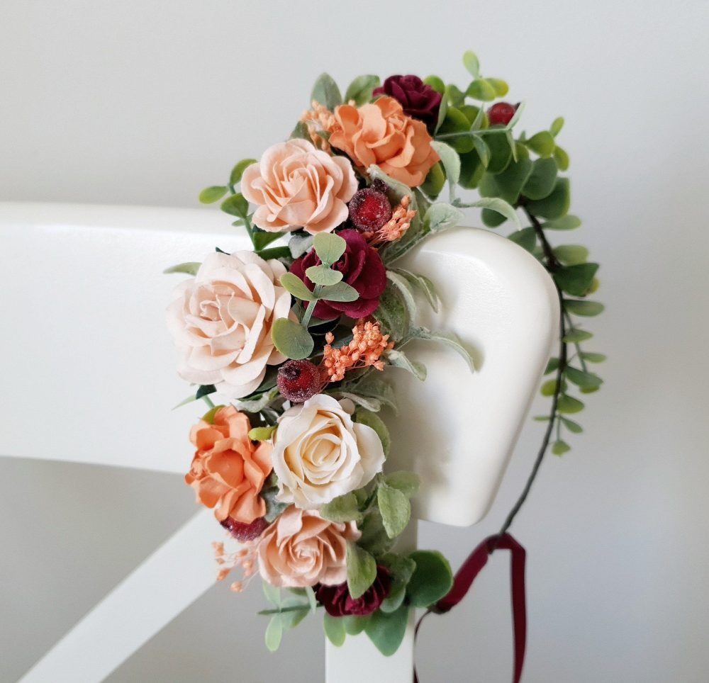 Burgundy Blush Orange Wedding Headpiece Burnt Floral Crown Bridesmaid Bridal Flower Fall