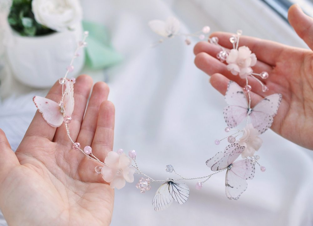Wedding Headpiece Butterflies Floral Hair Vine Blush Accessory Bridal Hairpiece Bridal Headband Silk Flower Pink