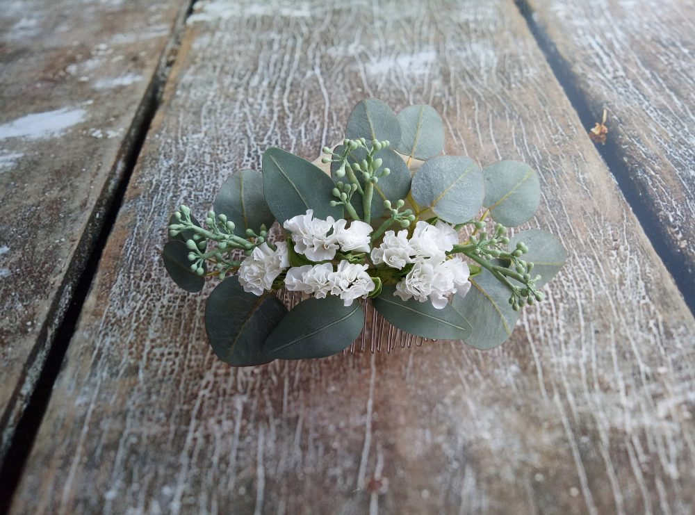 Flower Hair Comb Eucalyptus Piece Wedding Headpiece Bridal Floral Boho Flower Hair Accessories
