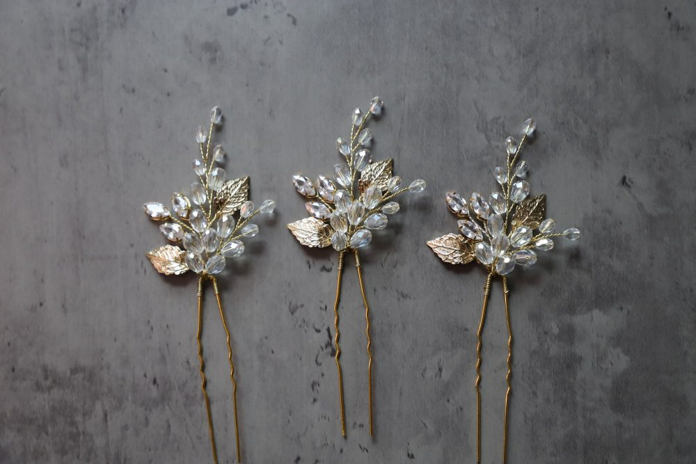 Crystal Hair Pins Set Of 3, Bridal Gold Zircon Pins, Wedding Headpiece, Accessories, Floral Design, Gold