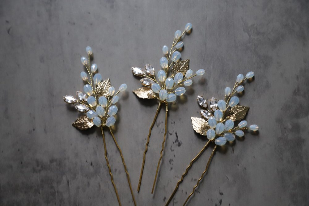 Opal Hair Pins Set Of 3, Bridal Gold Opal Pins, Crystal Wedding Headpiece, Accessories, Floral Design, Gold
