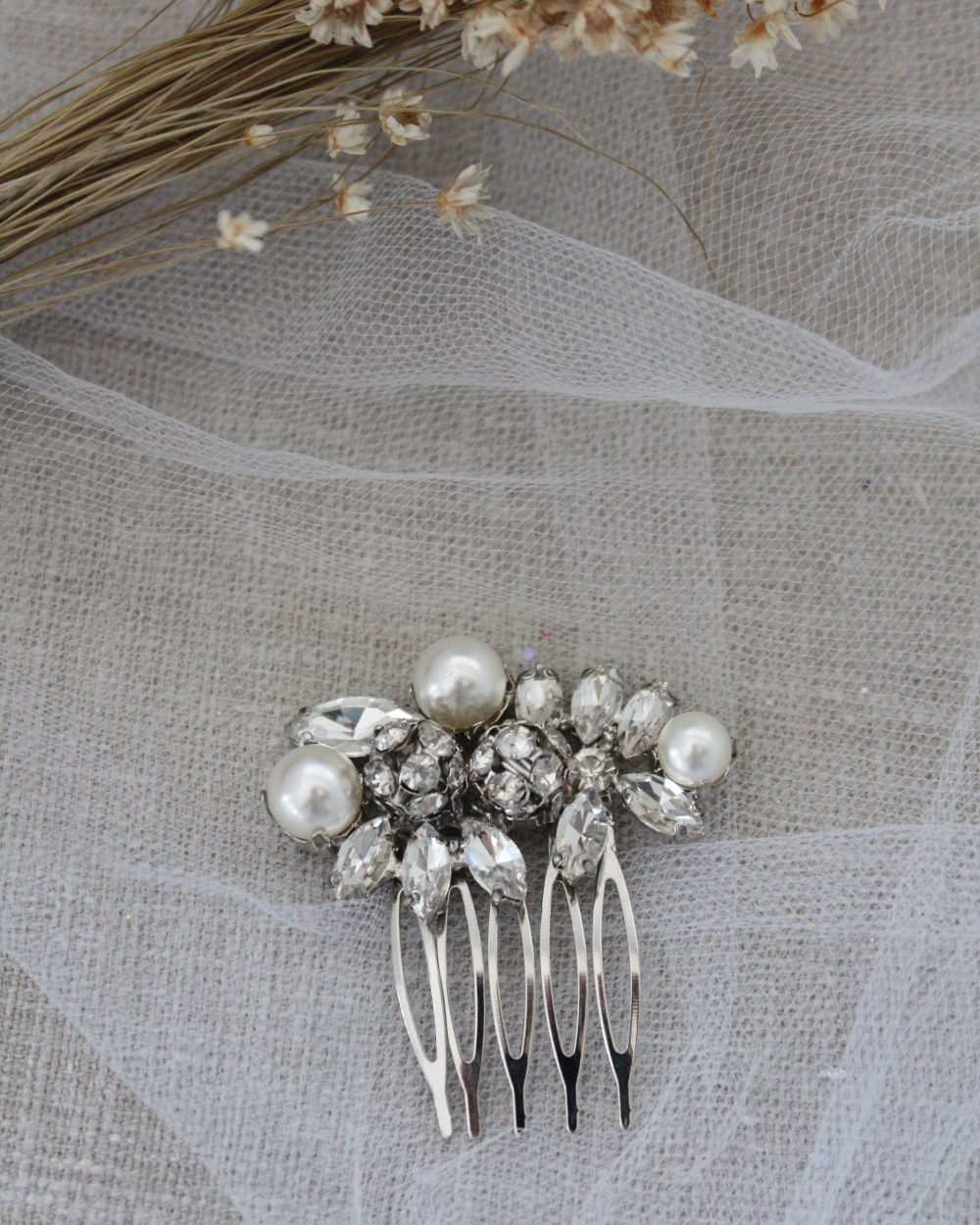 Pearl Jeweled Bridal Comb, Wedding Hair Rhinestone Jewelry, Bride Pins