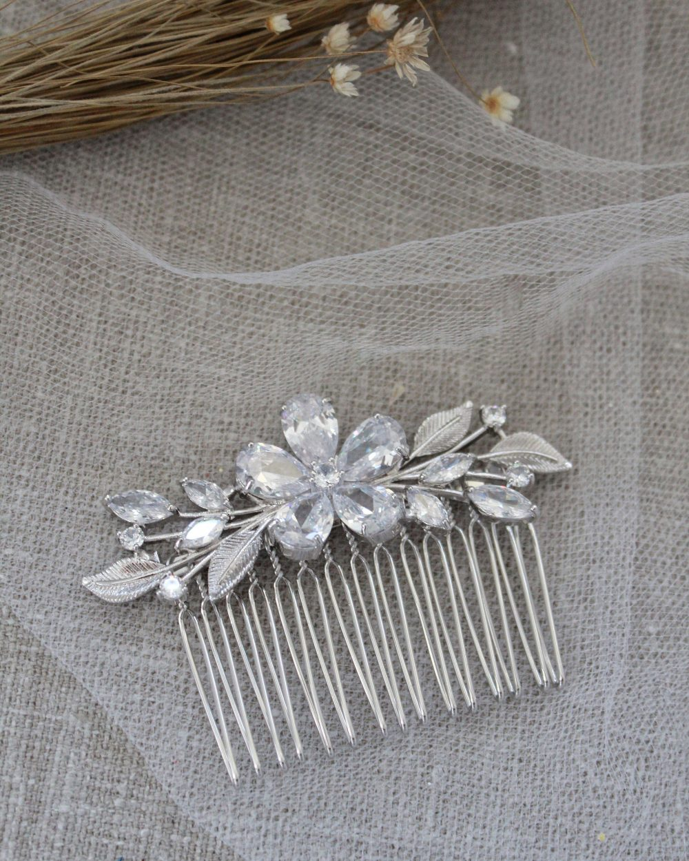 Flower Cubic Zirconia Bridal Comb, Wedding Hair Rhinestone Jewelry, Bride Pins