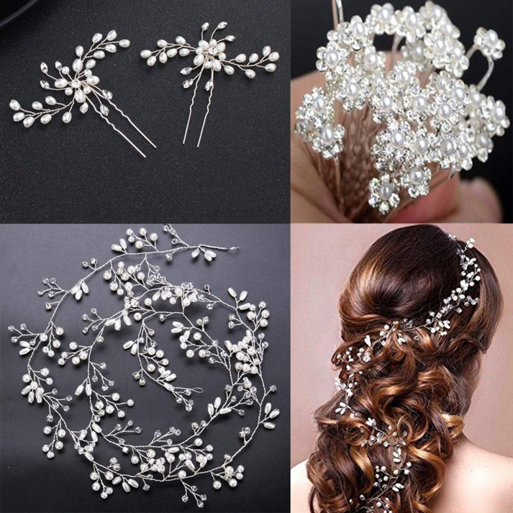 Crystals Bridal Wedding Jewelry Hair Accessories Women, 1 Pair Of Crystal Rhinestone Pins, 20 Pack Pearl Flower & More