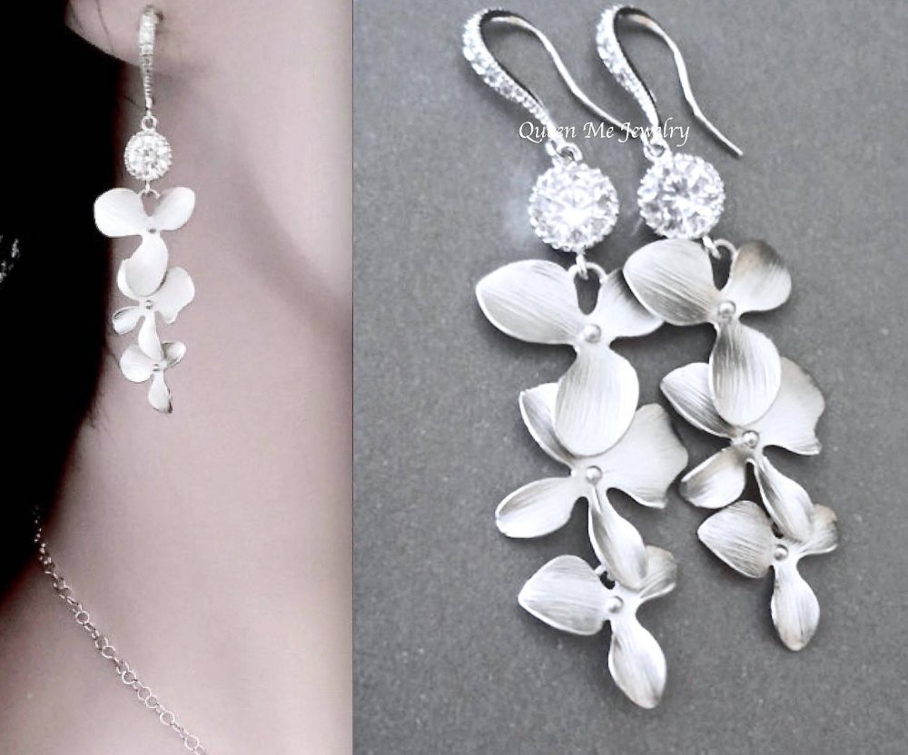 Cascading Orchid Earrings For A Bride, Bridesmaids Mother Earrings, Beach Destination Wedding Bridal Jewelry, Gift Her. Sterling, Ana