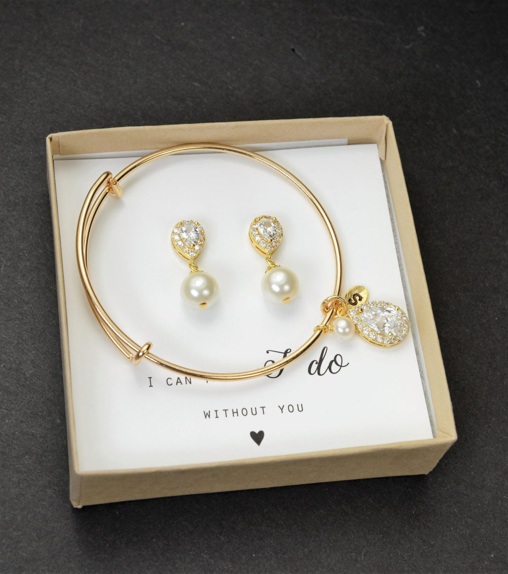 Pearl Personalized Bridesmaid Gift Earrings Jewelry Set Bridal Wedding Mother Of Bride