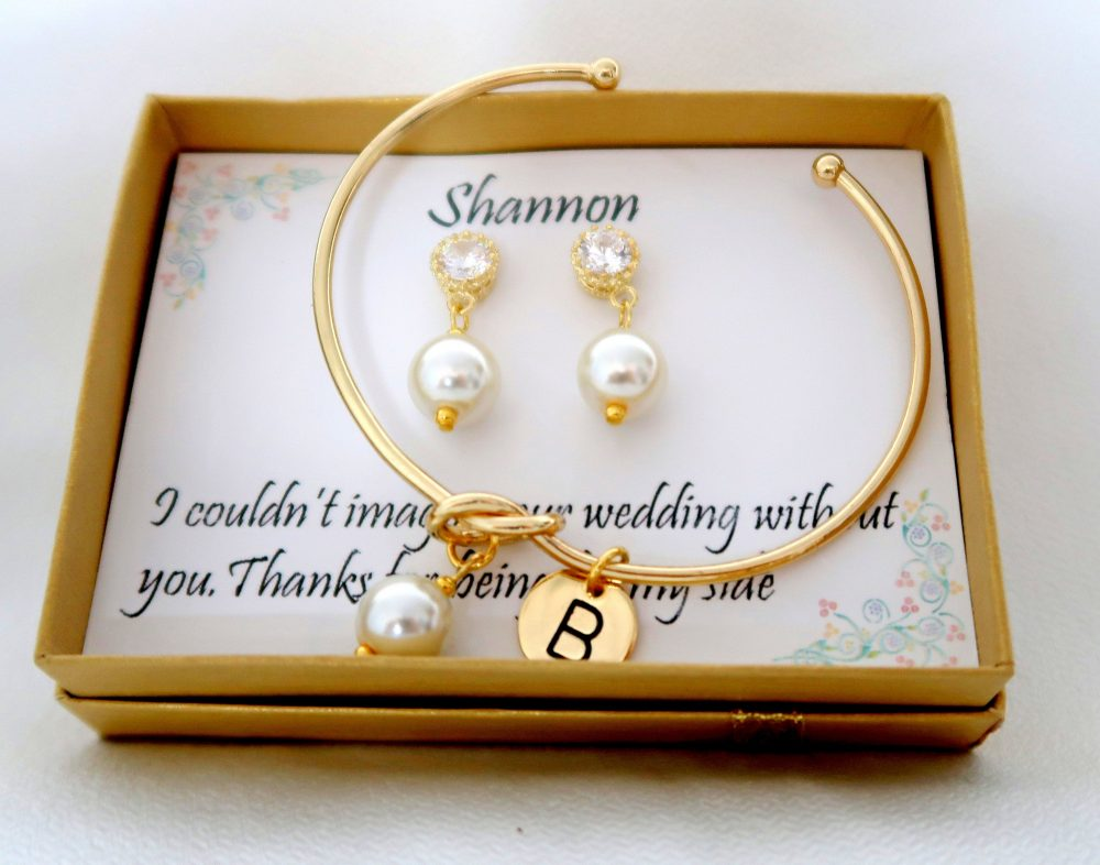 Personalized Bridesmaid Gift Set, Wedding Jewelry, Earrings Bracelet Maid Of Honor Gift, Mother