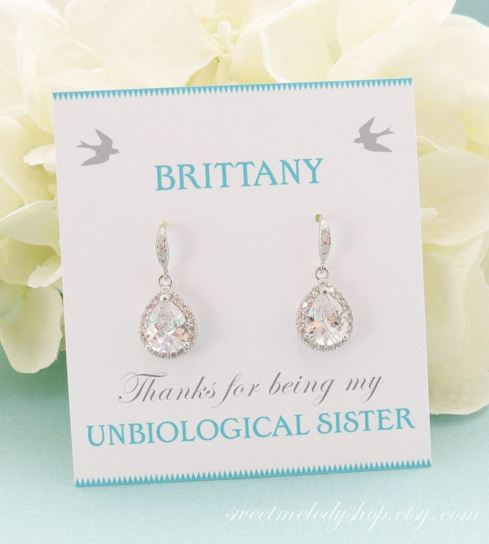 Personalized Bridesmaid Gift, Earrings, Jewelry Set, Bridal Wedding Mother Of Bride Set