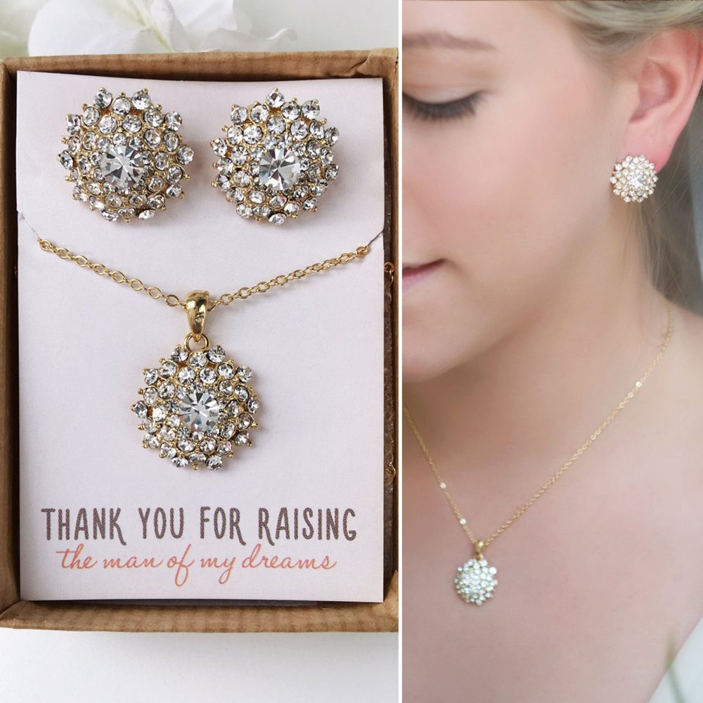 Mother Of The Groom Gift, Gift For Mom, Bride Wedding Jewelry, Earring & Necklace Set, N538-B