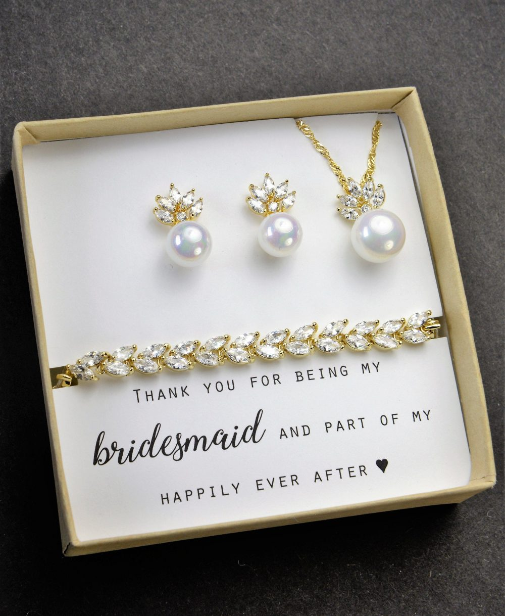 Custom Bridesmaid Gift Pearl Earrings Jewelry Set Bridal Personalized Wedding Mother Of Bride