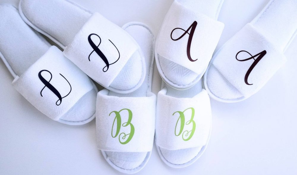 Monogrammed Slippers - Personalized Bridesmaid Gift Girls Trip Initials Bridal Party Gifts