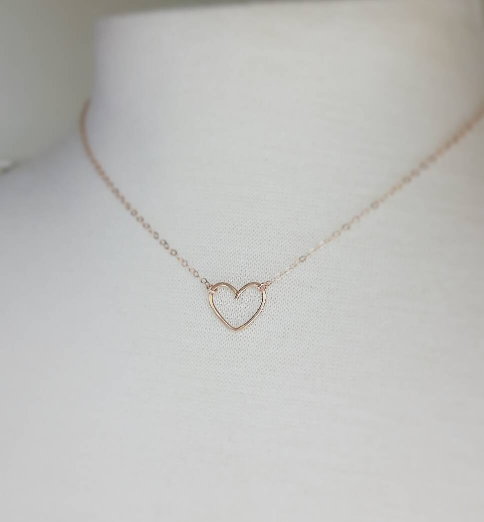Heart Necklace, Bridesmaid Thank You Gift, 14K Gold Filled Or Rose Gold, Necklace With Custom Card - Will Be My Bridesmaid?