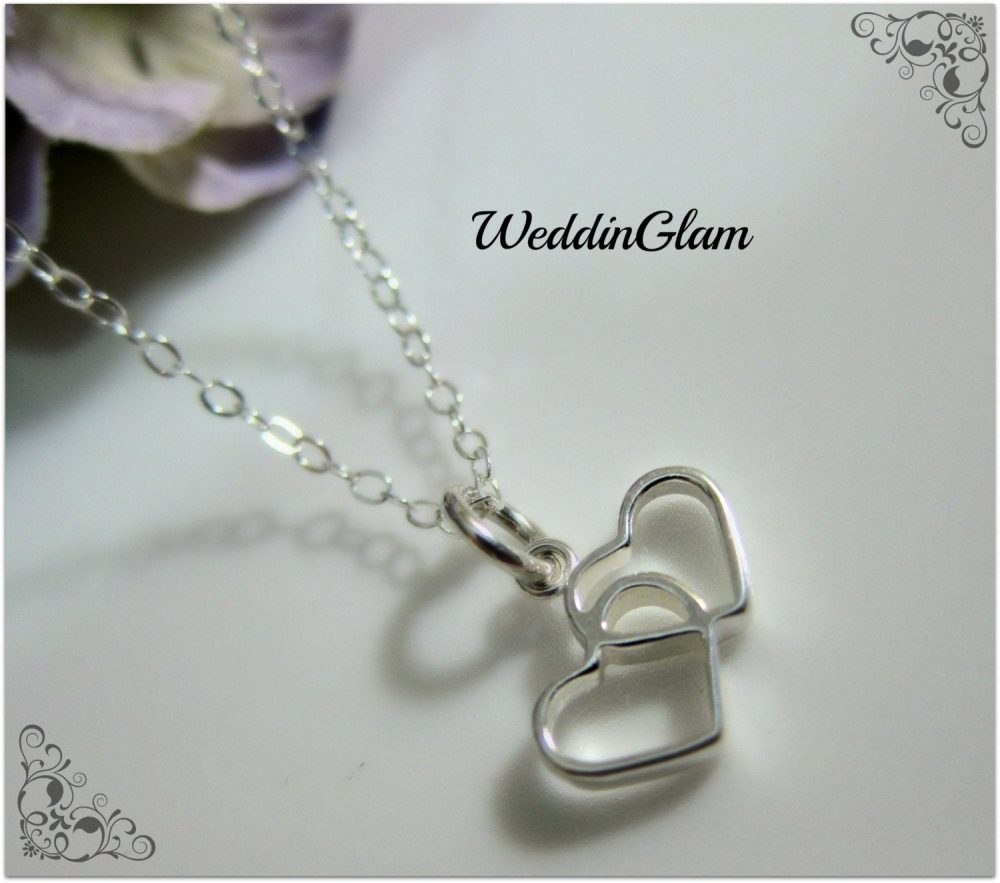 Twin Hearts Necklace , Girl Friend Heart Valentine Silver, Mother & Daughter Wedding Gift, Best Dainty