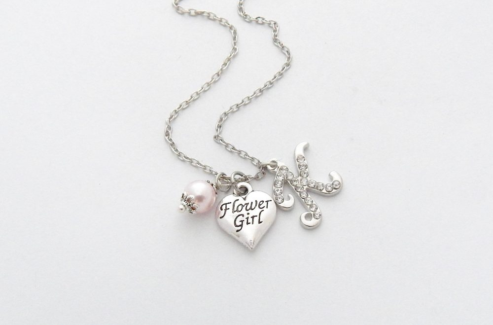 Flower Girl Gift-Flower Girl Necklace - Flower Heart Necklace-Flower Proposal - Will You Be My Girl-Little Jewelry