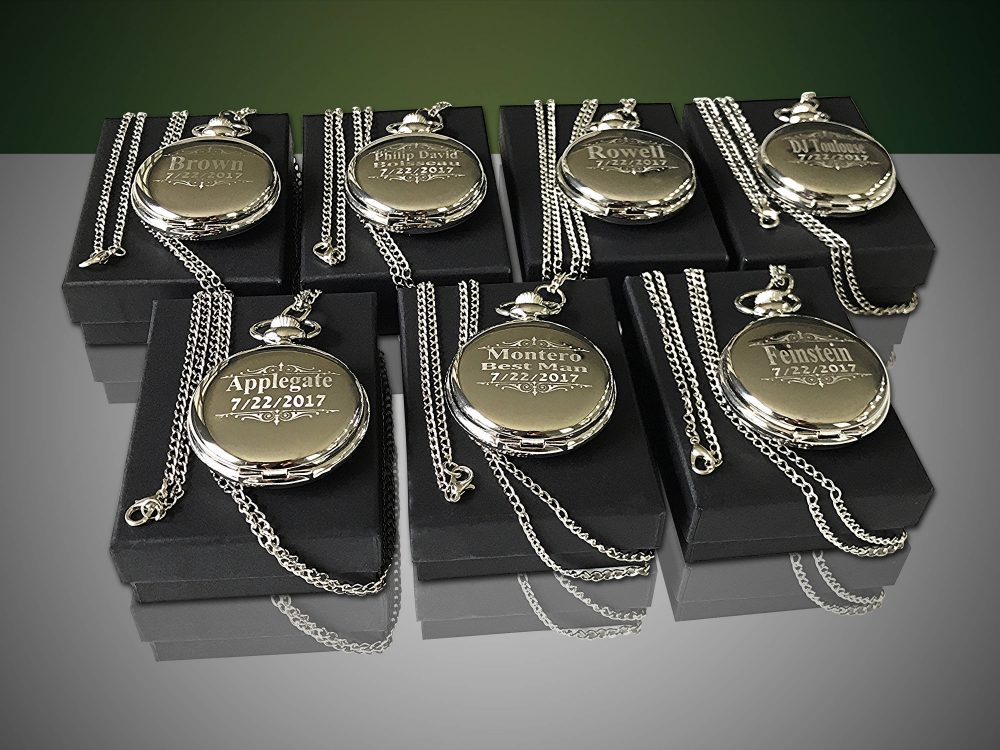 13 Groomsman Gifts - Silver Engraved Pocket Watches Personalized Gifts Wedding Gift Set Gift For Him