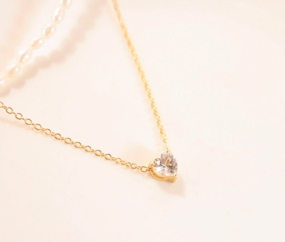 Gold Heart Necklace Crystal Pendant Minimal Wedding Valentine Day Gift Girl Idea Gifts Under 10 Love