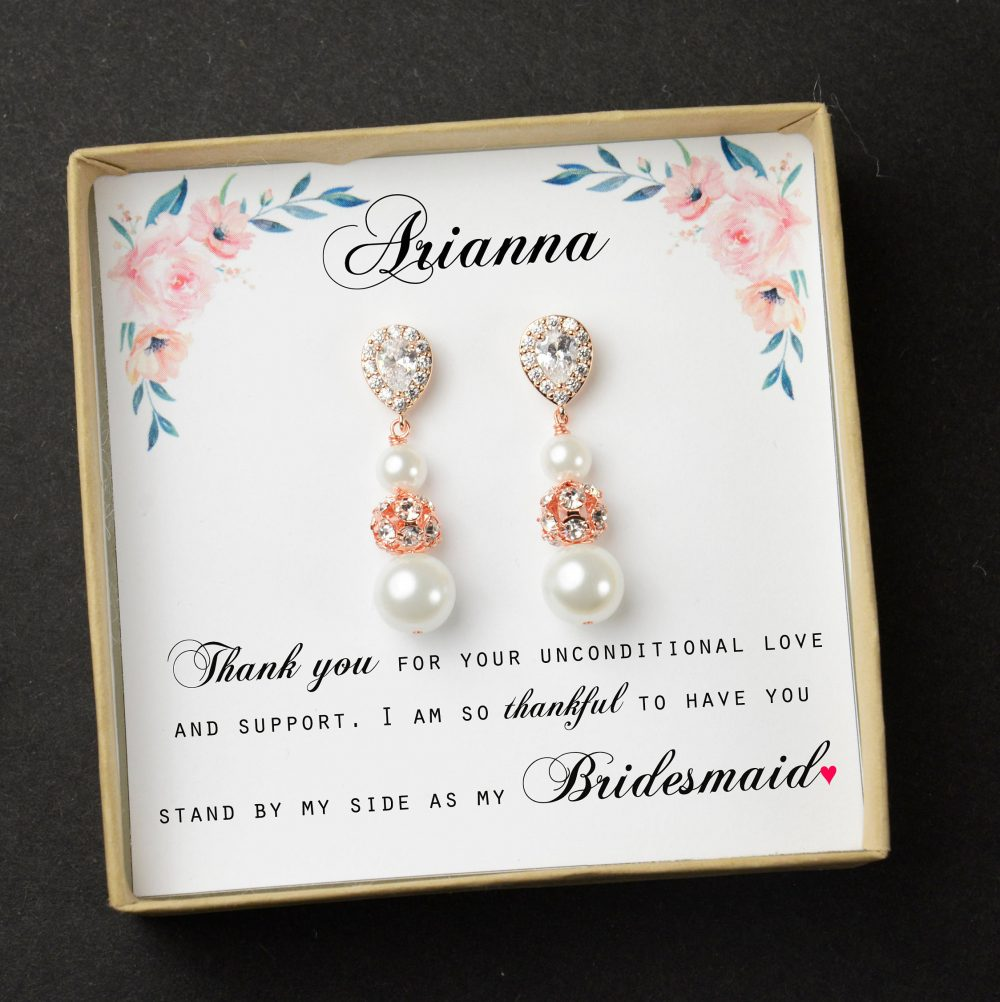 Bridesmaid Gift Pearl Earrings Jewelry Set Bridal Personalized Wedding Mother Of Bride