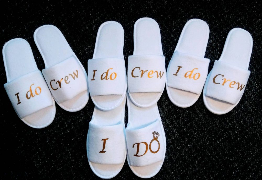 I Do Crew- Bridesmaid Slippers - Bride Slippers- Crew Slippers- Slipper Set Wedding Slippers