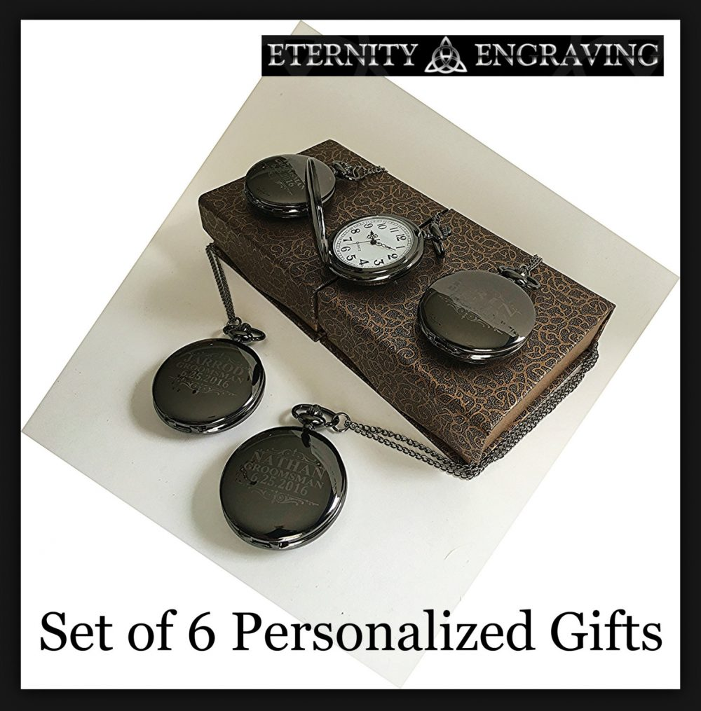 Groomsmen Gift -6 Laser Engraved Pocket Watches 6 Black/Gunmetal in Box - Custom -Wedding Gifts For Him