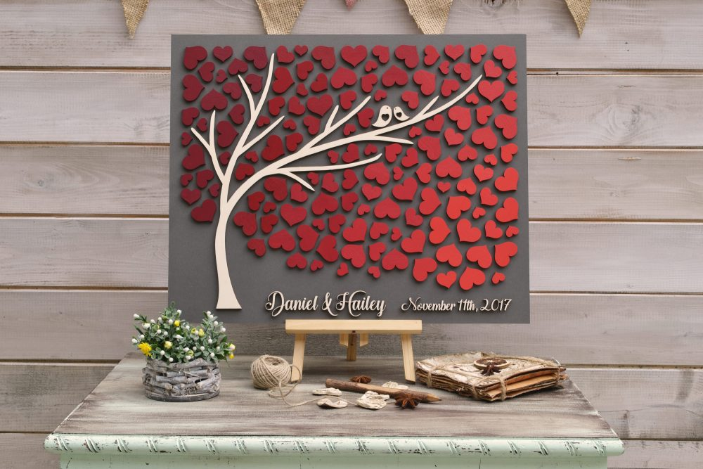 3D Wedding Guest Book Alternative Tree Wood Custom Unique Guestbook Hearts Burgundy Autumn Wedding Rustic Wooden Tree Of Life Gift
