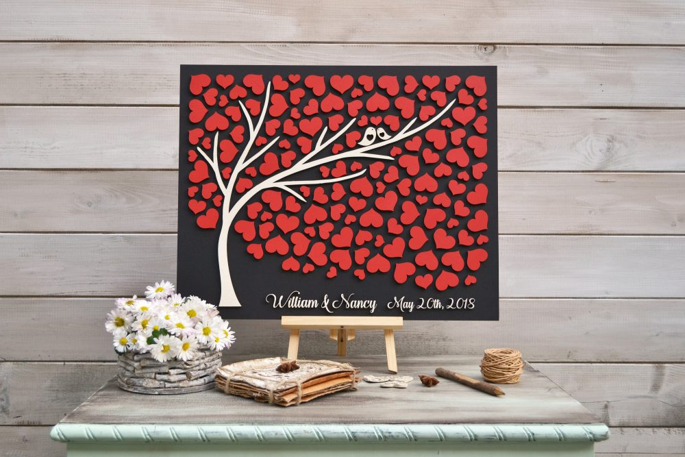 Custom Colors 3D Wedding Guest Book Alternative Tree Rustic Wedding Red Wood Hearts Guestbook Tree Of Life Gift Love