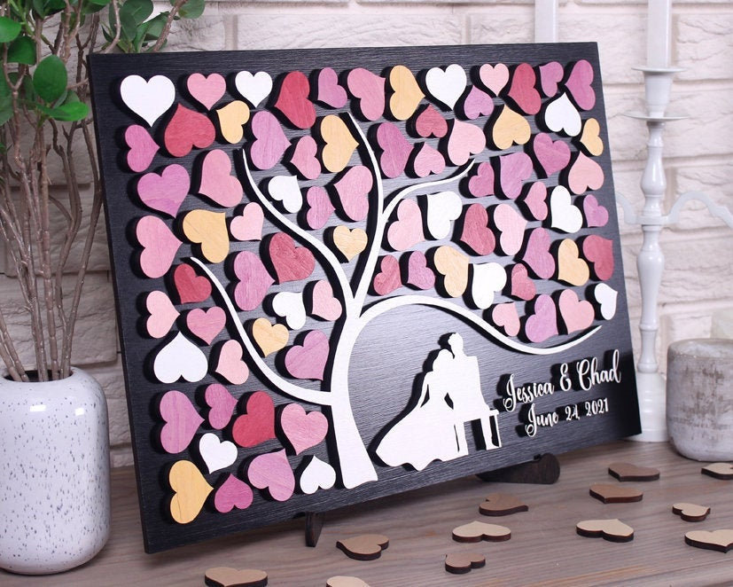 Personalized Wedding Guest Book Alternative Tree With Couple On The Banch 3D Guestbook Sign Custom Colors Rose Theme