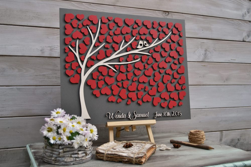 Custom 3D Wedding Guest Book Alternative Tree Red Wedding Rustic Guestbook Unique Wooden Tree Of Life Gift