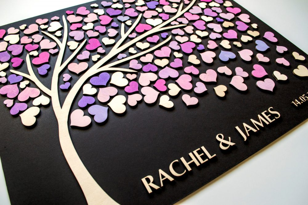 Custom 3D Wedding Guest Book Alternative Tree Wood Hearts Rustic Wedding Unique Guestbook Wooden Tree Of Life Gift