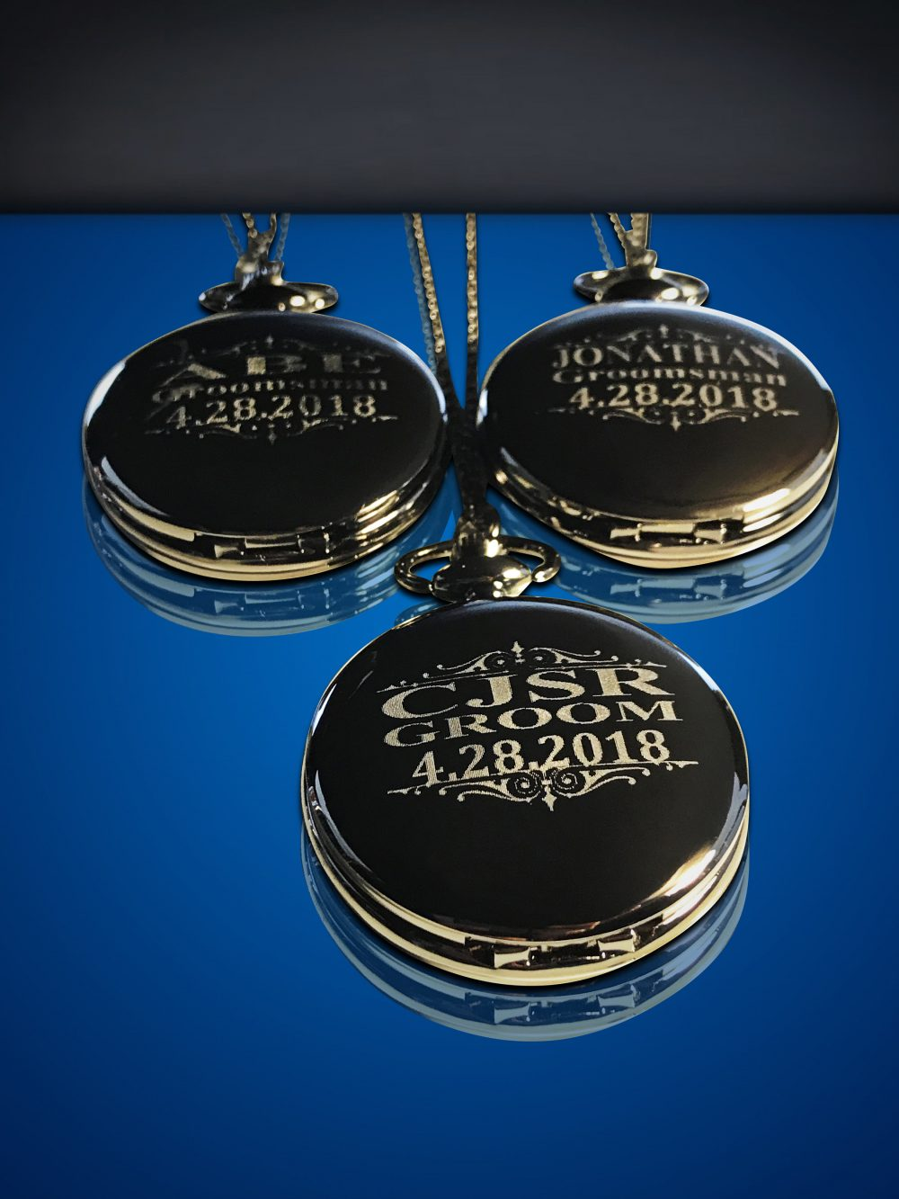 Personalized Groomsmen Gift - 3 Engraved Pocket Watch Black/Gunmetal in Box Engraved Wedding