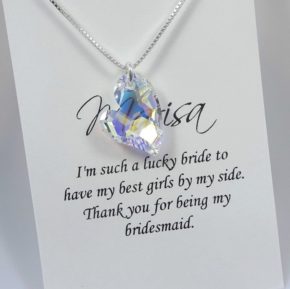 Crystal Heart Necklace, Bridesmaid Personalized Gift, Wedding Bridal Party Jewelry, Flower Girl Necklace