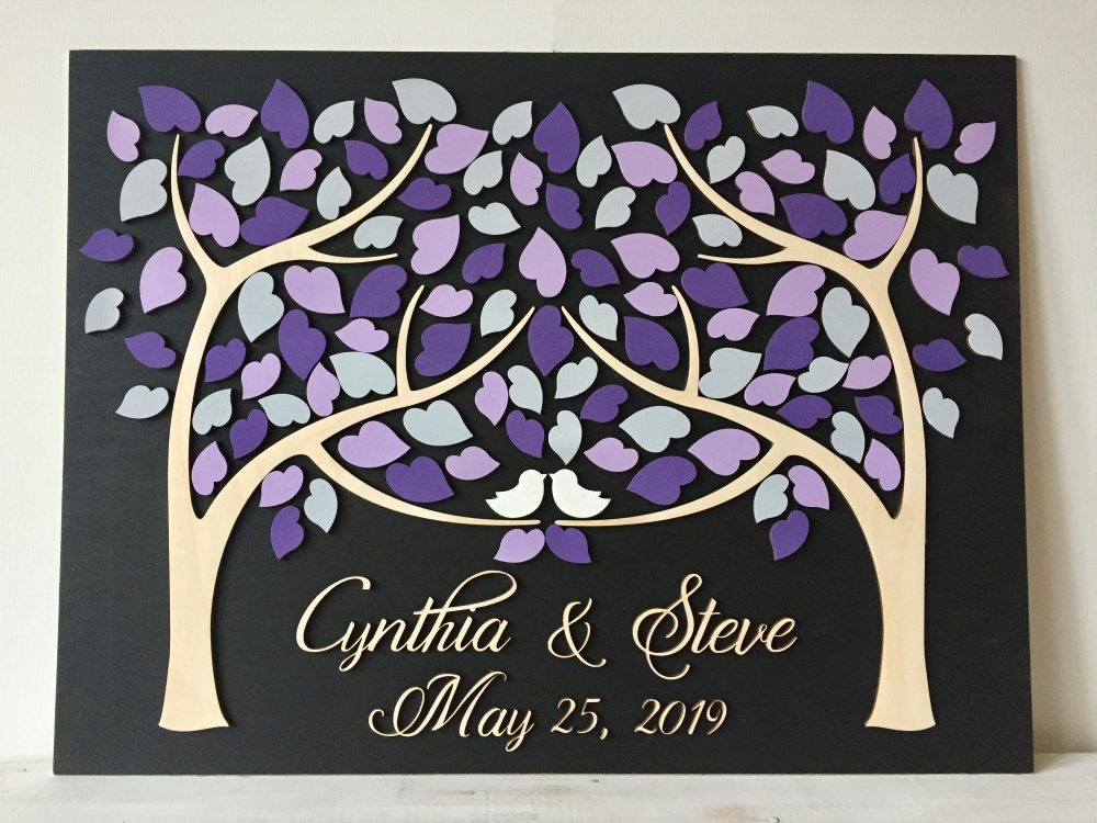 Wedding Guest Book Alternative Tree Guestbook Made Of Wood With 3D Heart Leaves in Purple, Violet, Lavender, Eggplant Or Mauve