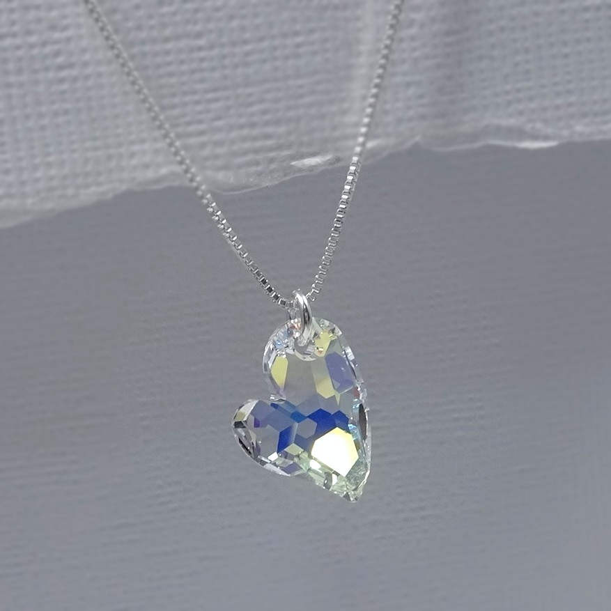 Heart Necklace, Swarovski Crystal Pendant, Bridesmaid Gift, Wedding Mom Gift