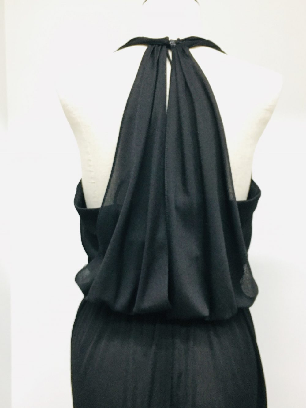 David Morris Vintage Halter Black Crepe Dress Exquisite & Perfect Little See Picture Of Measurements For Sizing