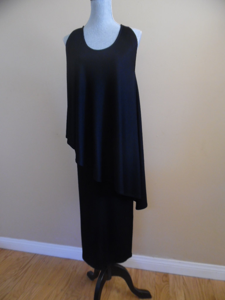 Vintage 1970S Little Black Dress; Knit Asymmetrical Top, Midi Length Skirt; 2 Piece Dress By Marina Veglia