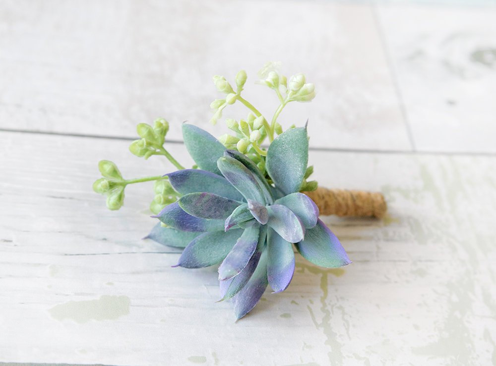 Succulent Boutonniere, Wedding, Rustic Silk Bouquet