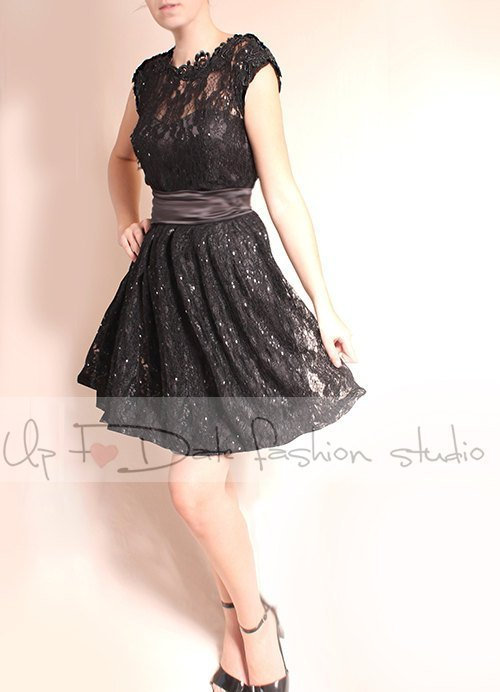 Plus Size Little Black Lace Short Wedding Dress , Evening Party Cocktail Sleeves Elegant Romantic